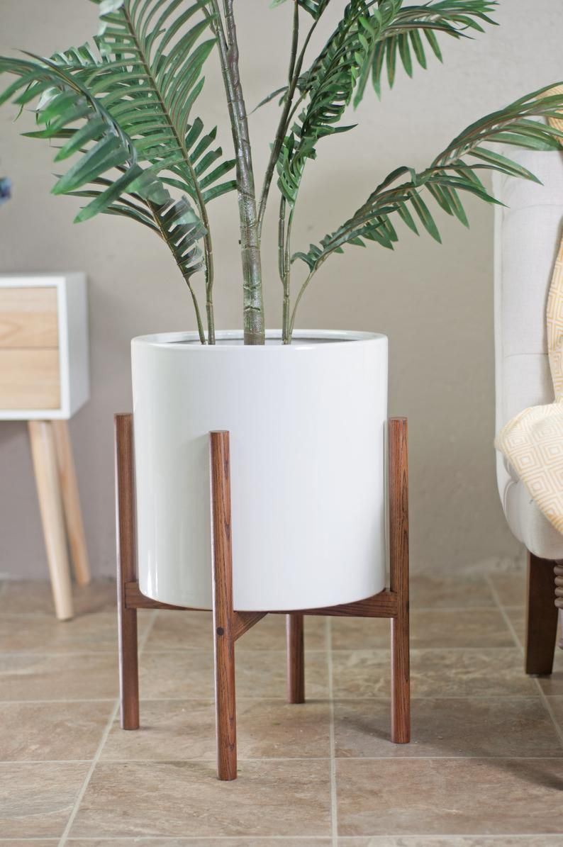 Large Plant Stand With Pot Mid Century Modern Planter Wood Plant Stand 13 Plant Pot Mid Century Modern Indoor Planter Honey Mid Century Modern Planter Wood Plant Stand Ceramic Planters