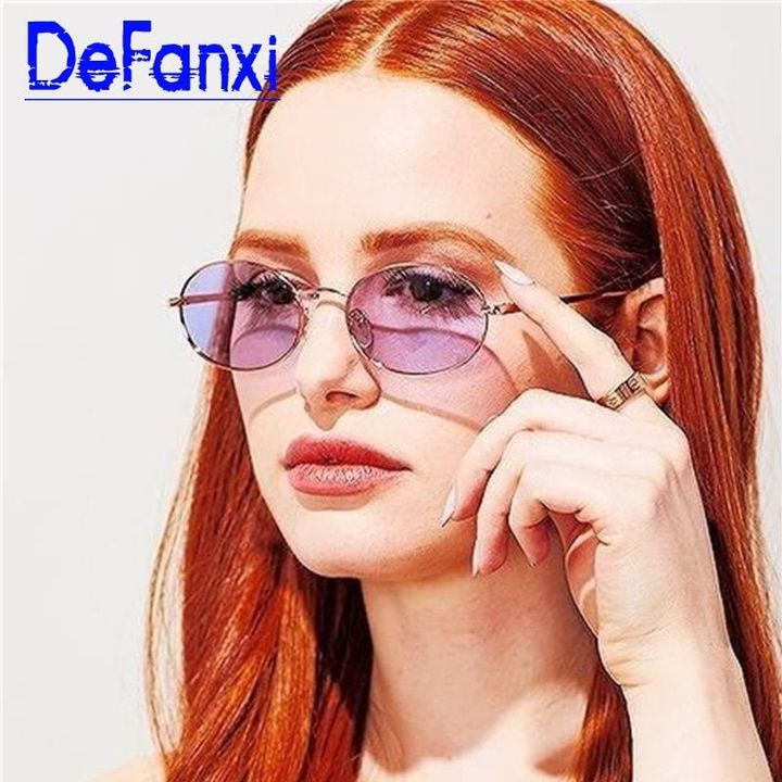 Gold Purple Oval Sunglasses Female Tinted Lens