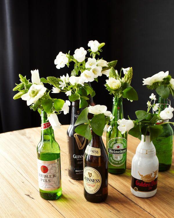 Flower Arrangements In Wine Bottles: St. Patrick's Day Beer Bottle DIY In 2019