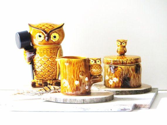 Retro Ceramic Owl Coffee Creamer And Sugar Set Three Piece Set
