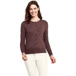 Photo of Supima Fine Knit Cardigan in Petite Size – Brown – S by Lands' End Lands' EndLands' End