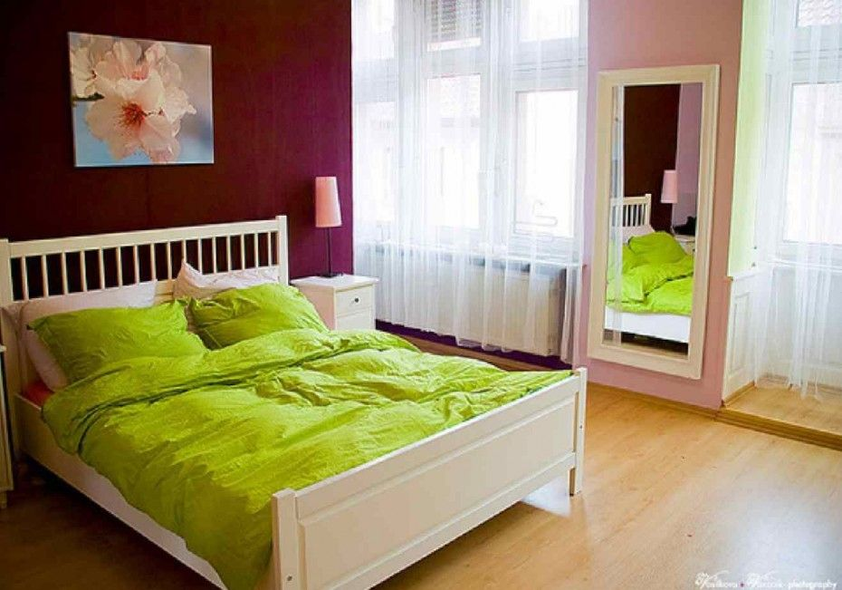Bedroom Fresh Bedroom Painting Ideas And Purple Overhead Wall Also Free  Standing Mirror Featured Green Bedding
