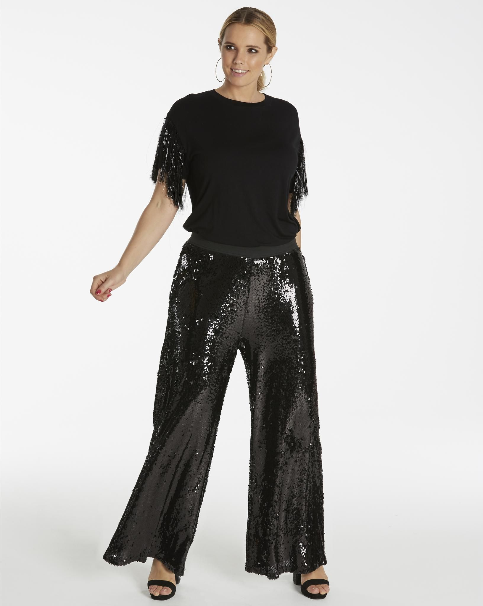 3f94d3481d86e Simply Be Sequin Palazzo Trousers