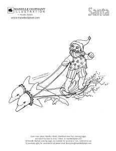 free coloring page friday surfing santa manelle oliphant illustration