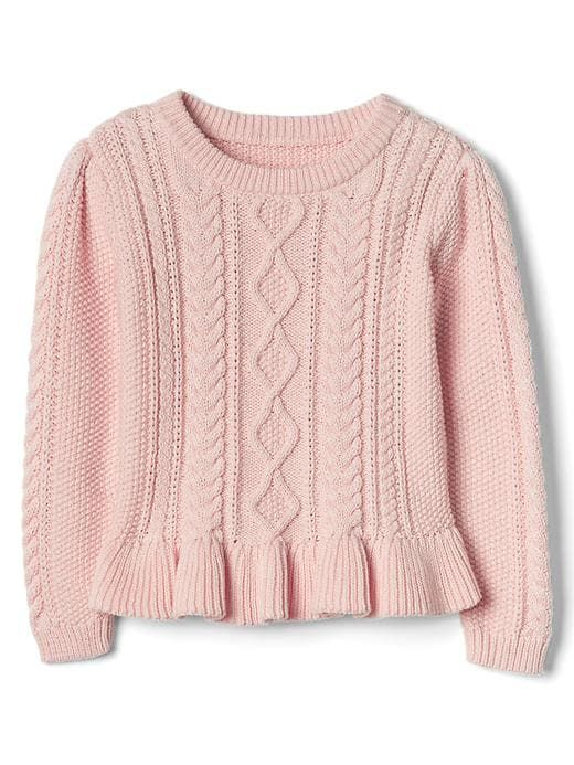 BRAND NEW HAND KNITTED BABY GIRL PEACHY PINK  /& WHITE  ARAN CARDIGAN WITH COLLAR