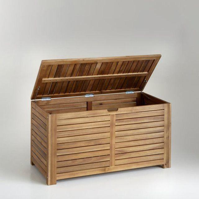 coffre de rangement en acacia l90 cm coffre de rangement outils de jardinage et jeux de plein air. Black Bedroom Furniture Sets. Home Design Ideas