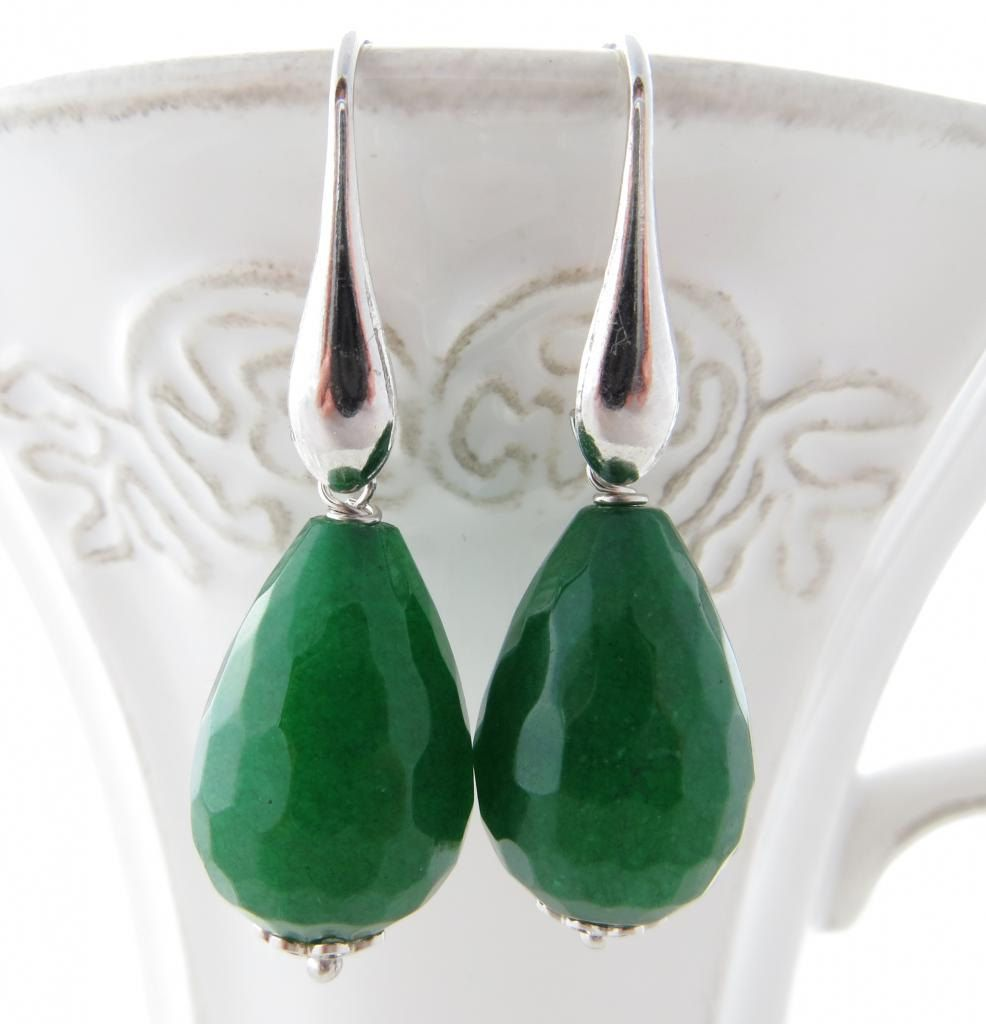Green Jade Earrings Dange Stone Uk Drop Gemstone Jewellery Sterling Silver 925 Italian Wedding Jewelry By Sofiasbijoux On