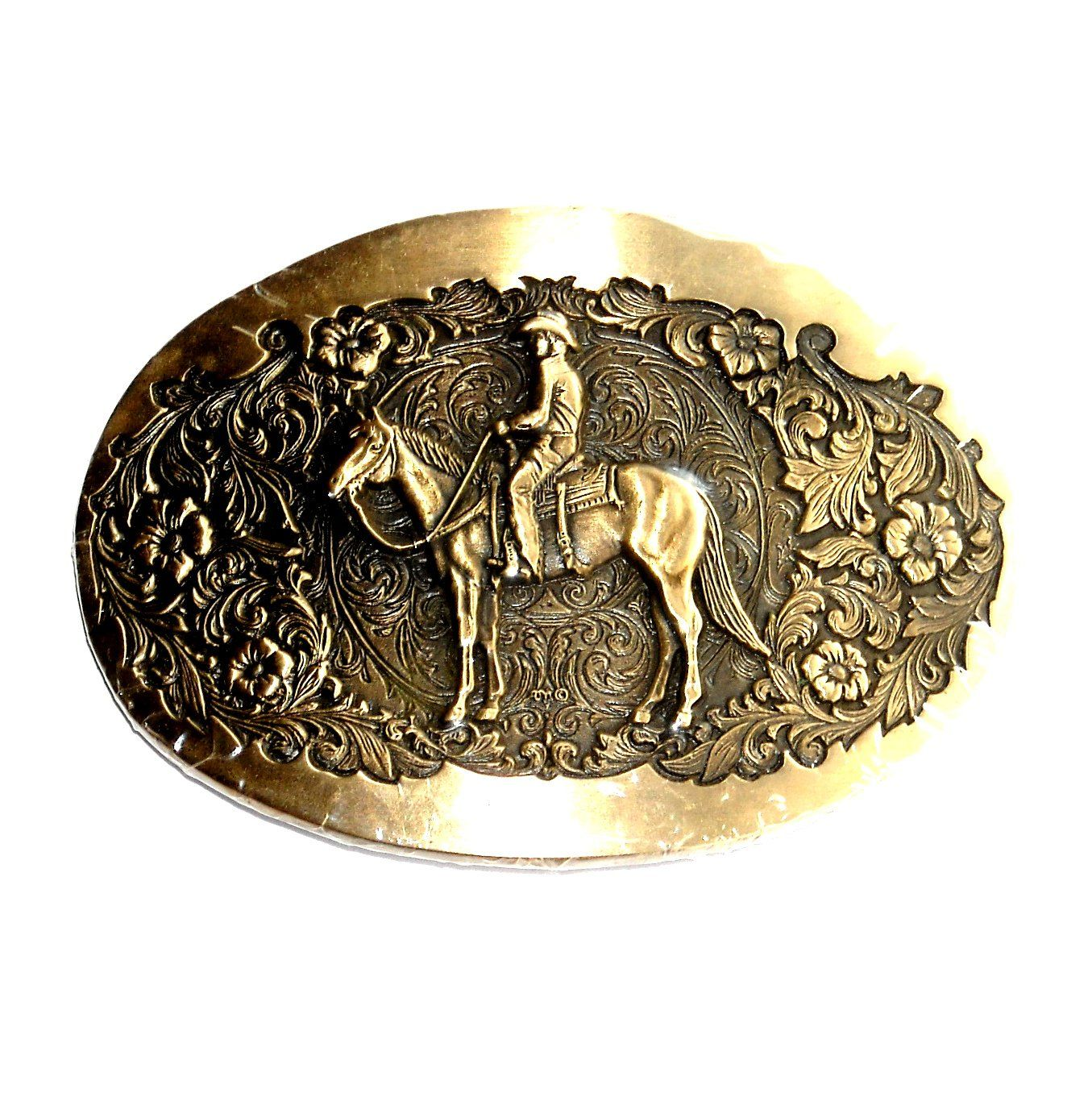 Country Western Flair Cowboy Cowgirl Gift Art German Silver Brass Engraved Etched Handmade 1980s Vintage Belt Buckle