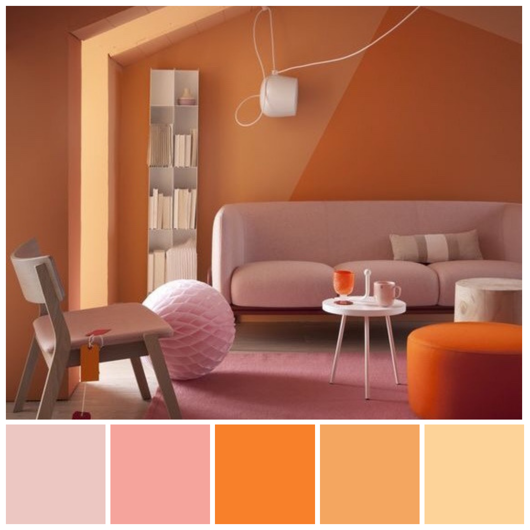 Bold And Brave Analogous Colours In Saturated Oranges And Pinks Analogous Colour P Colour Combinations Interior Interior Color Schemes Wall Color Combination