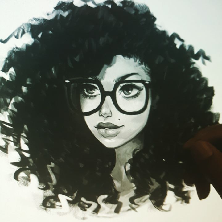 Quick Photoshop Sketchdook Digitalportrait Portrait Girlwithglasses Curlyhair Instaart Instaartist Toni Black Girl Magic Art Afro Art Black Girl Art