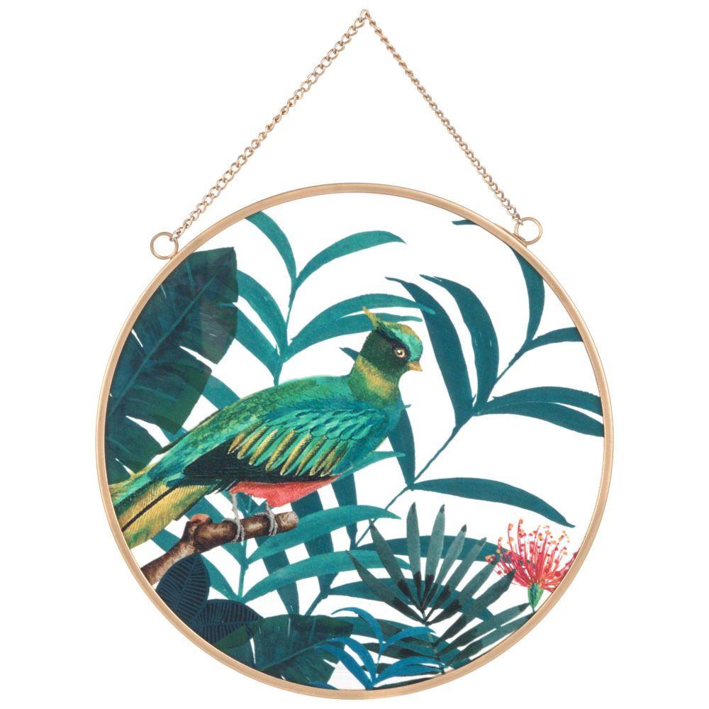 Gold metal and tropical print glass wall art x maisons du