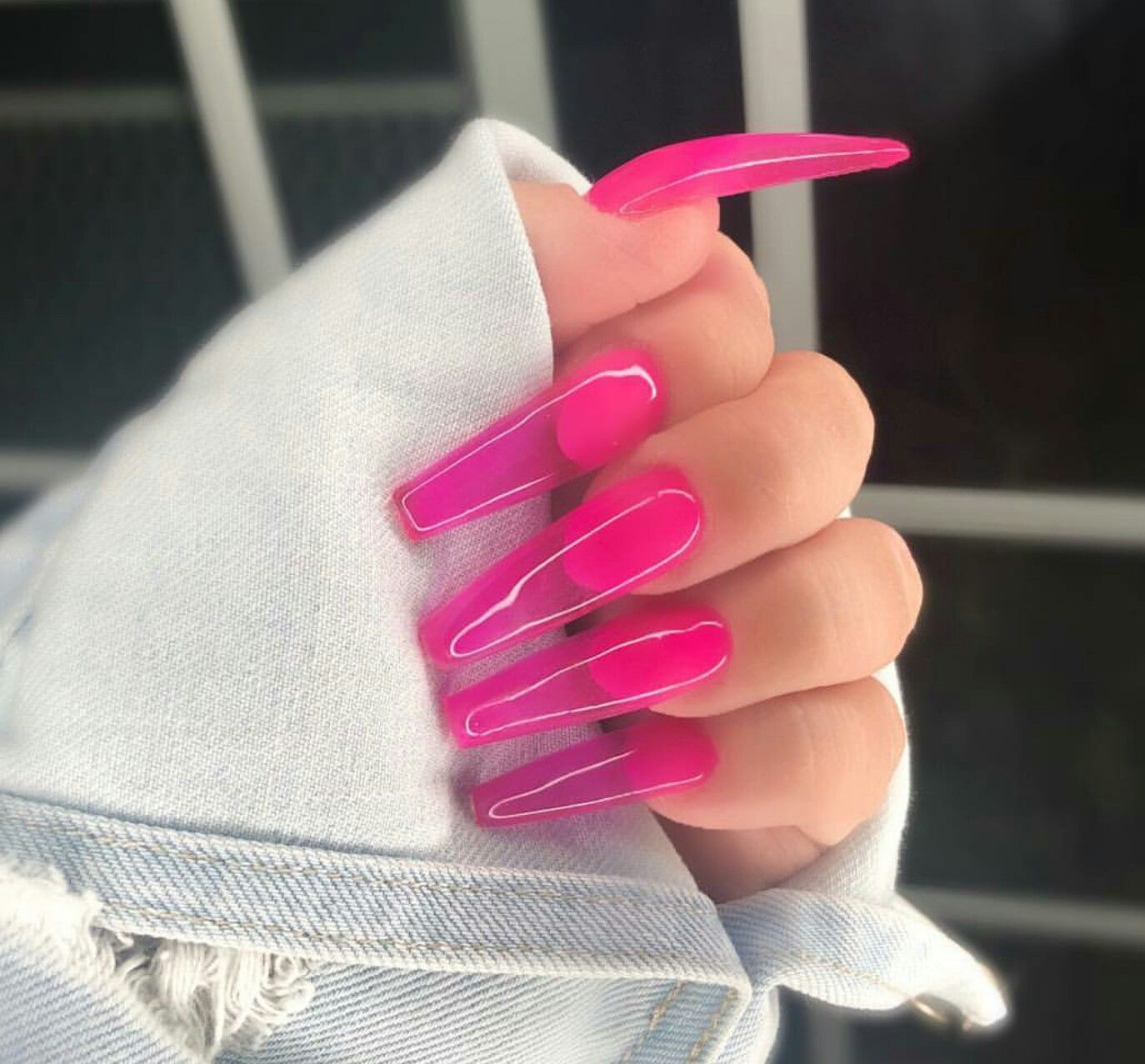 Hot Pink Clear Nails Pink Acrylic Nails Jelly Nails Clear Nails