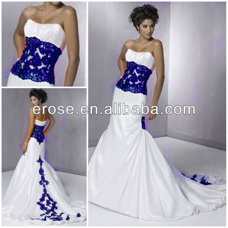 Wj 006 Strapless Chapel Train Royal Blue Wedding Dresses Buy