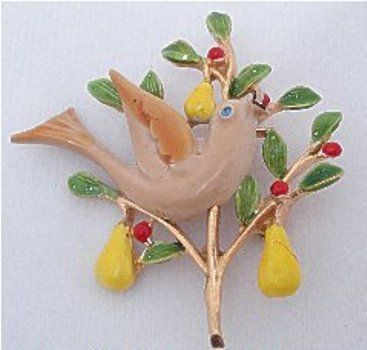 Partridge Pear Tree Enamel Brooch +
