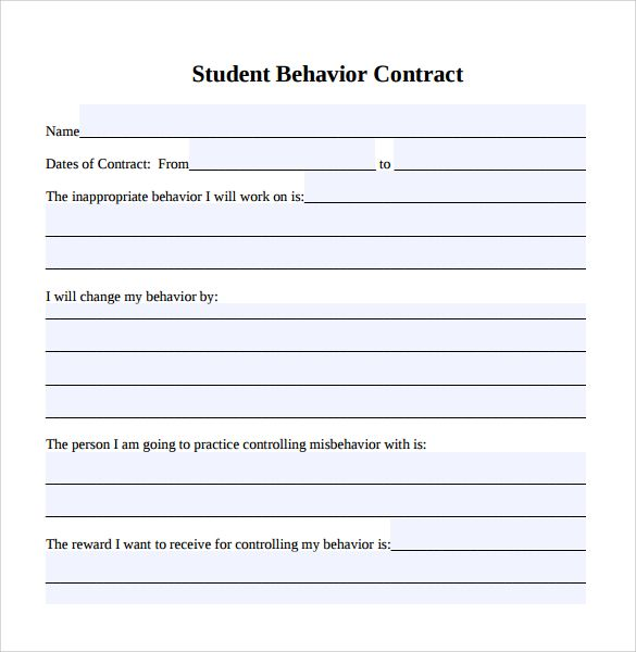 Student Behavior Contract Template Begin the Year With - resume worksheet for high school students