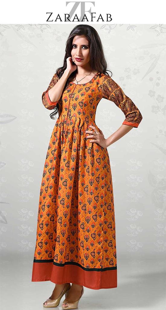 aab4550d3a Shop designer orange printed regular kurti, orange color kurti, orange  printed kurti and best