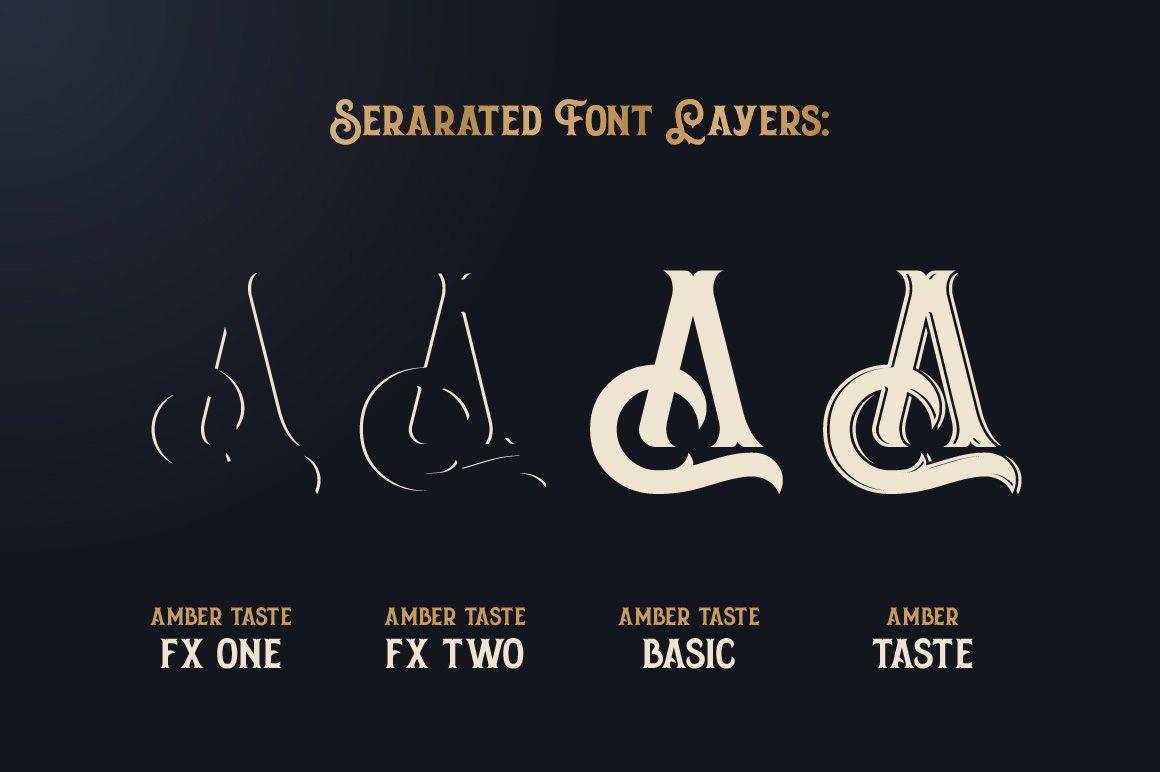Amber Taste Font, Label, Mockup! by Gleb Guralnyk on