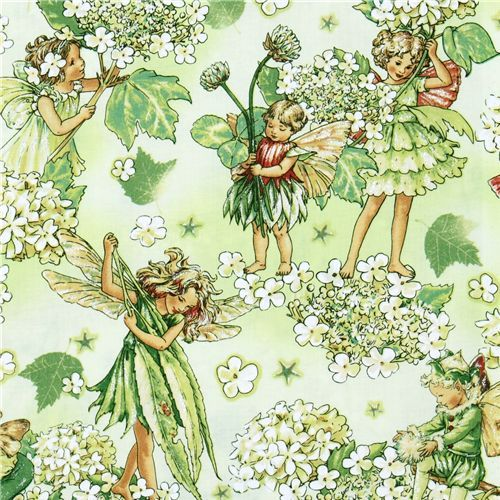 Michael Miller fabric Morning Fairy Garden flower fairy cute green