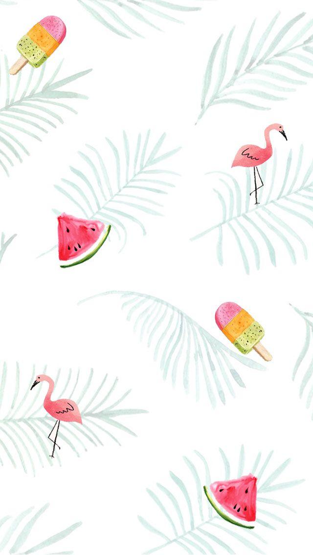 Flamingo Watermelon Icecream Fern Tropical Wallpaper Kolase Dekorasi