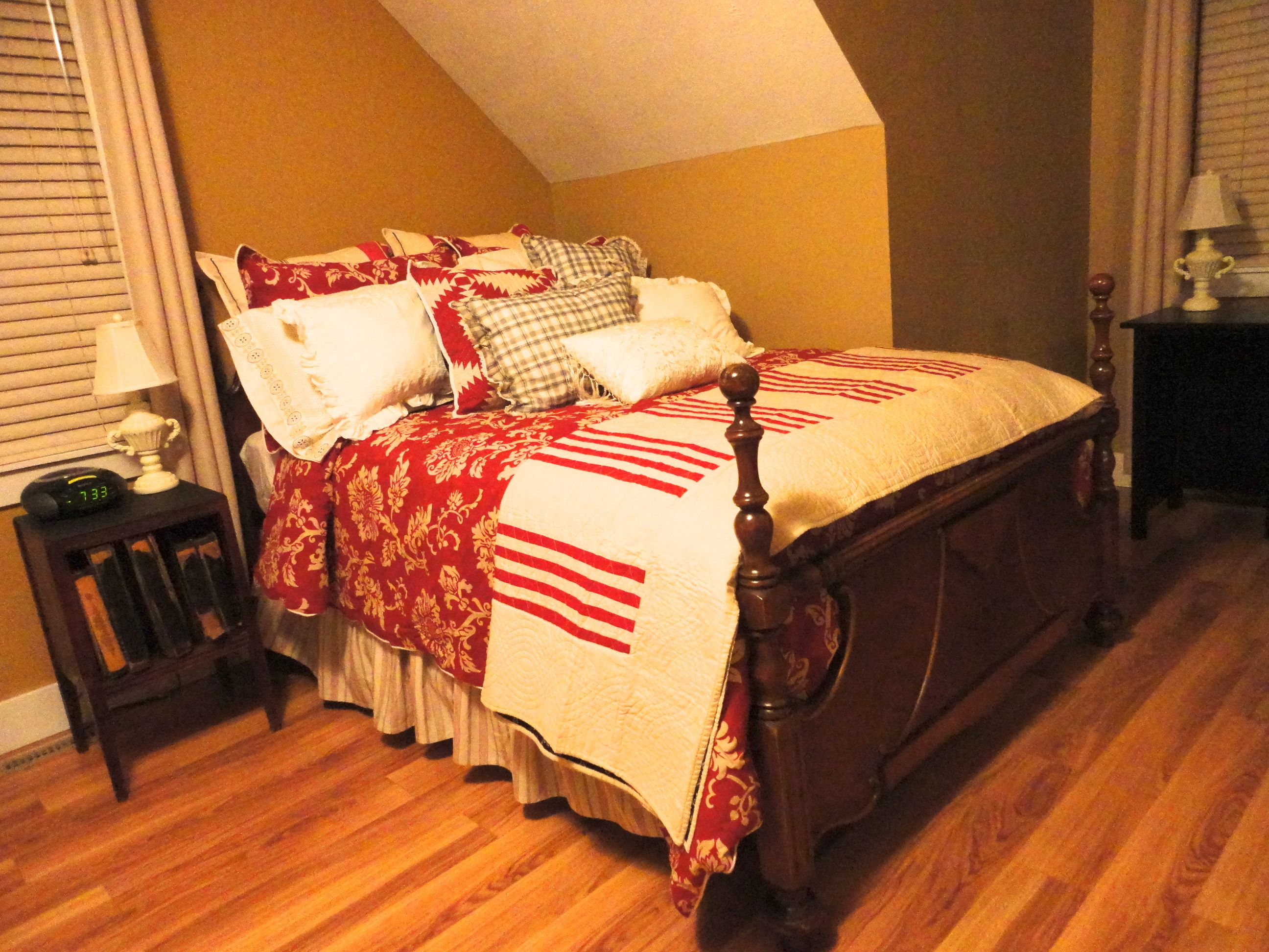 Old wood bed frame with new bedding upstairs guest bedroom my