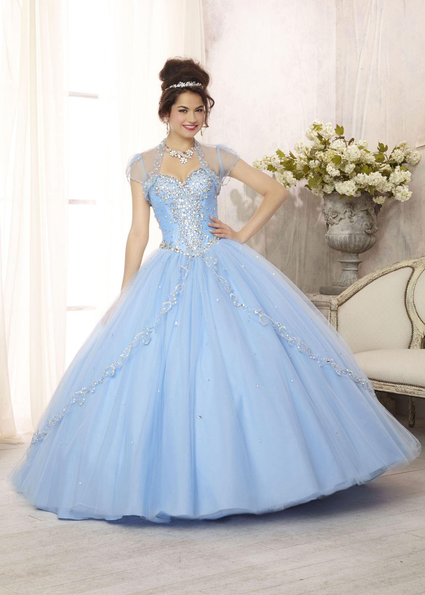 7b133310c96 Vizcaya 88088 - Bahama Blue Embroidered Quinceanera Prom Dresses Online   thepromdresses