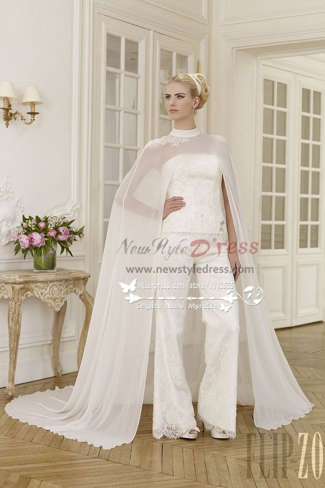 Elegant wedding pant suit lace dress with chiffon cloak for Inexpensive dresses to wear to a wedding