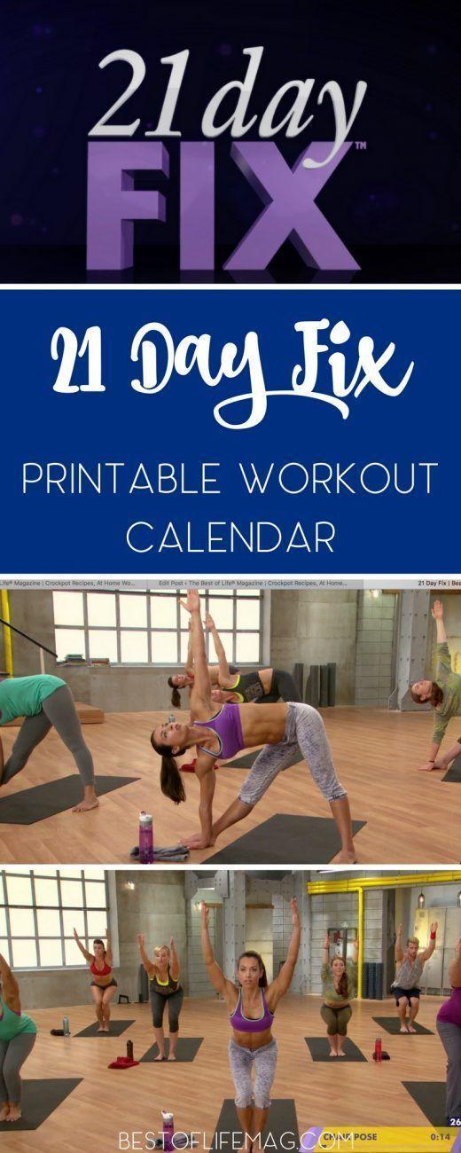 21 Day Fix Printable Workout Calendar Workout calendar, Printable