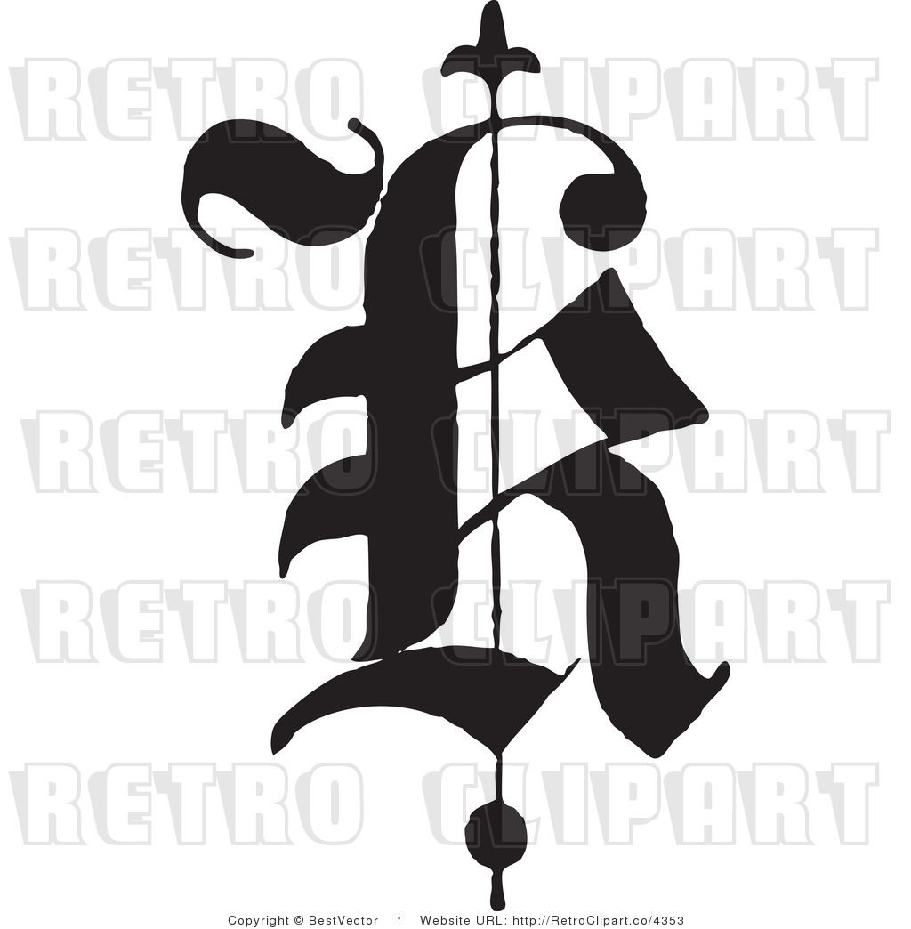 Royalty Free Retro Old English Abc Letter K (With images ...