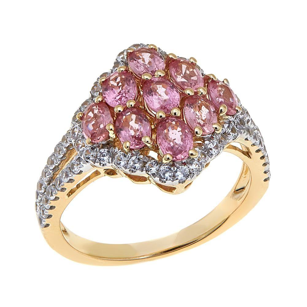 K yellow gold ctw white zircon and padparadscha sapphire ring