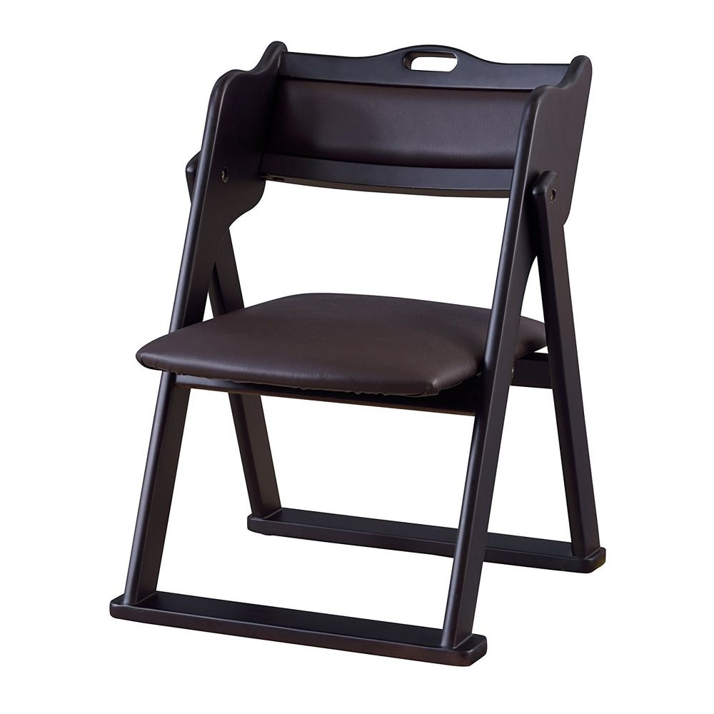 Compact Folding Chair Black Wooden Easy Carry Tatami Mat