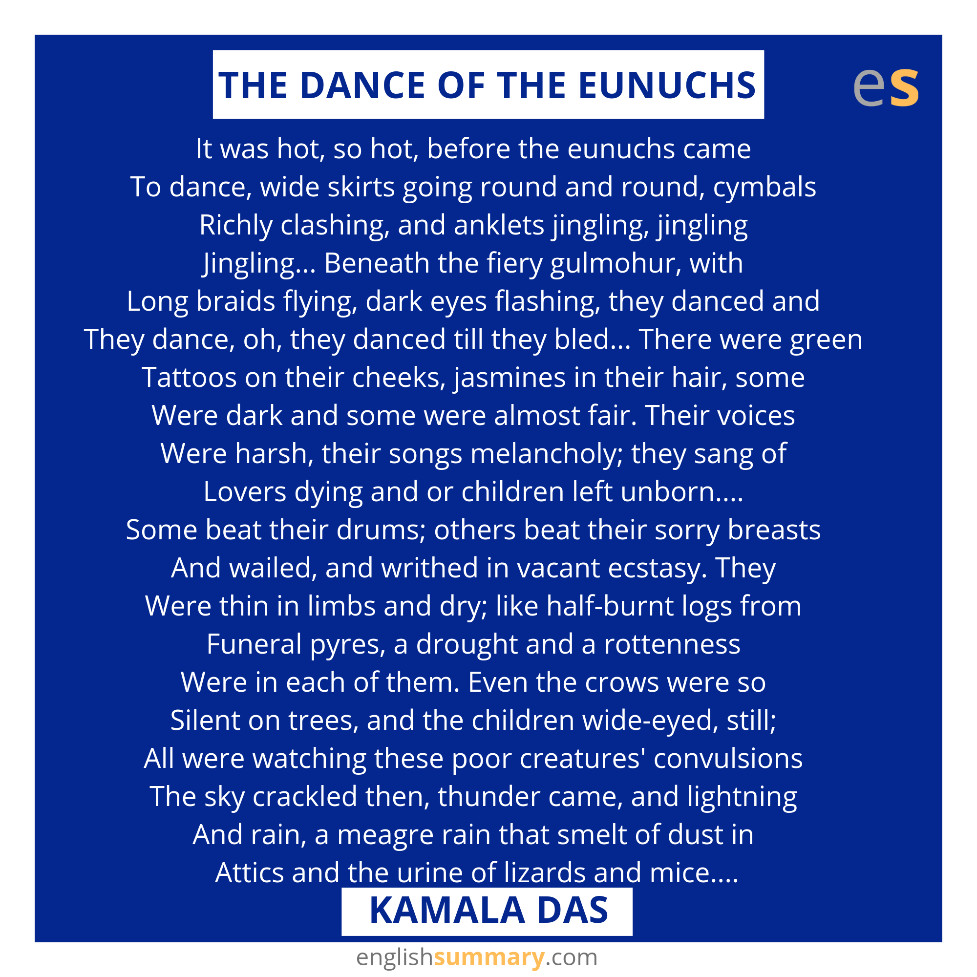 The Dance Of Eunuch Poem By Kamala Da How To Memorize Thing Funny Quote Poems Sun Rising Theme