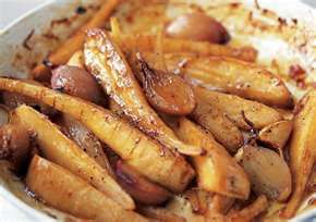 roast parsnips with garlic & butter... another wonderful dish