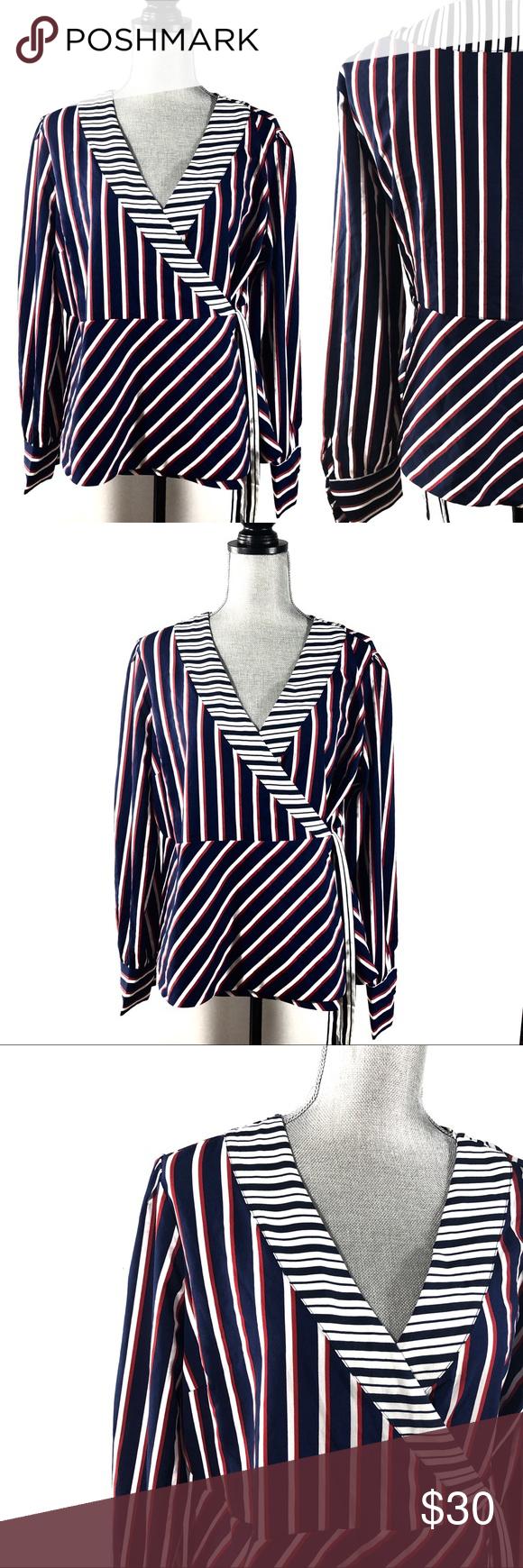 Paraphrase Red White Blue Wraparound Blouse Stripe Pattern Clothe Design Work Attire Custom Clothing