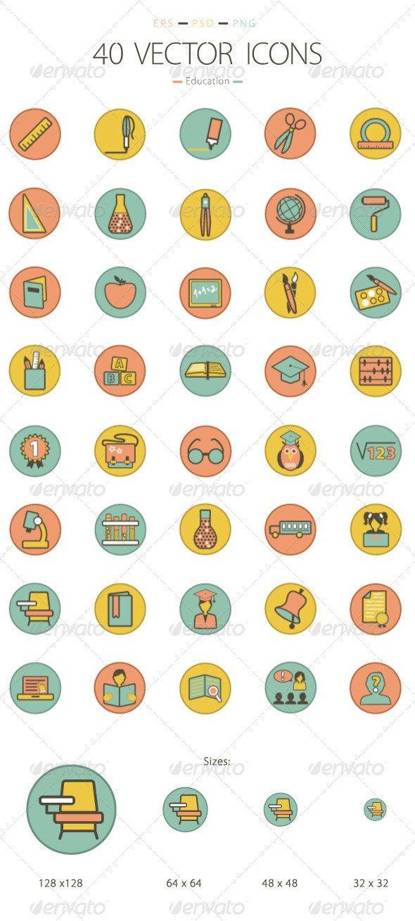 Set of 40 Education Icons Affiliate Set, ad, Icons,