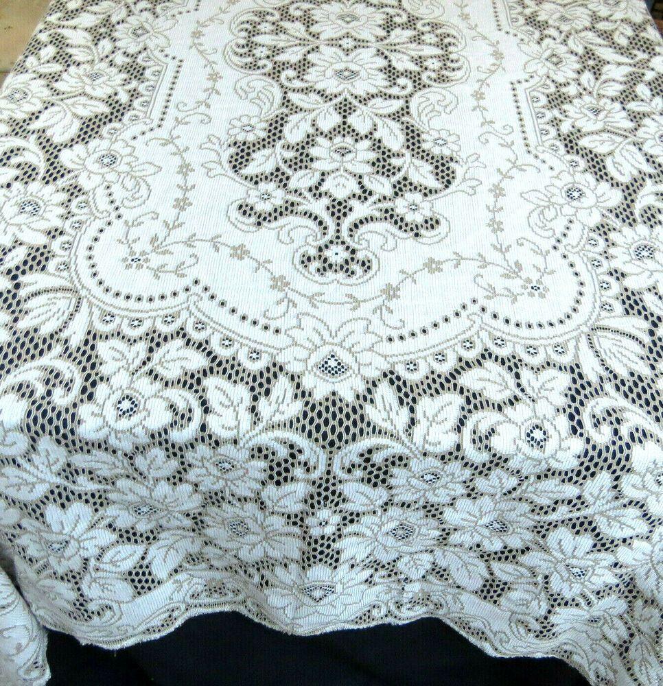 Vintage Quaker Style Lace Tablecloth 64x84 Rectangle Spain Lace