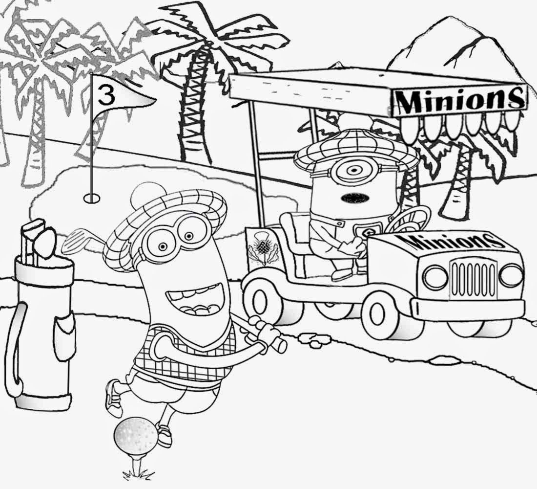 Best Kids Movie Despicable Me Coloring Golf Minion Activity Pages Golfing Cart Cartoon Draw Minion Coloring Pages Minions Coloring Pages Cartoon Coloring Pages