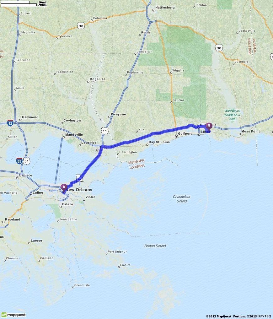 Driving Directions from New Orleans, Louisiana to Ocean Springs ...