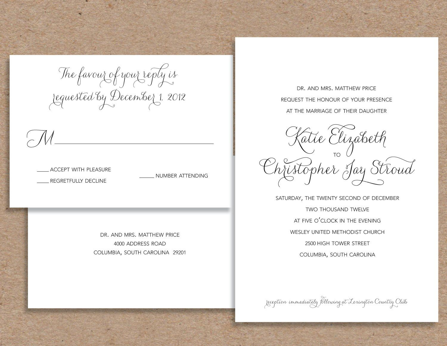 Wording For Couple Wedding Invitation  If You Want A Formal