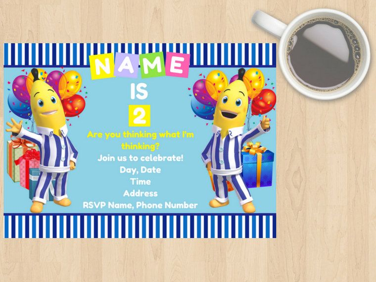 Digital Download Bananas In Pyjamas Kids, Children's, Birthday Invitation, Blue, White, Yellow, Party,TV Show, Cute, Customisable, Boy, Girl by DesignsByMoniqueAU on Etsy