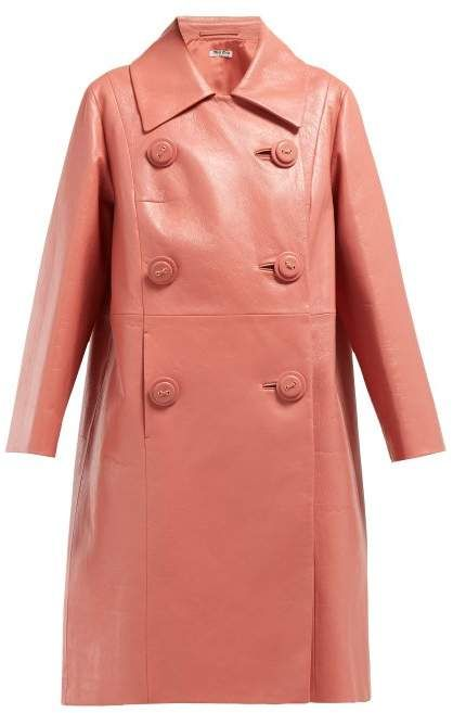 a09114779199 Miu Miu Double Breasted Leather Coat - Womens - Dark Pink in 2019 ...
