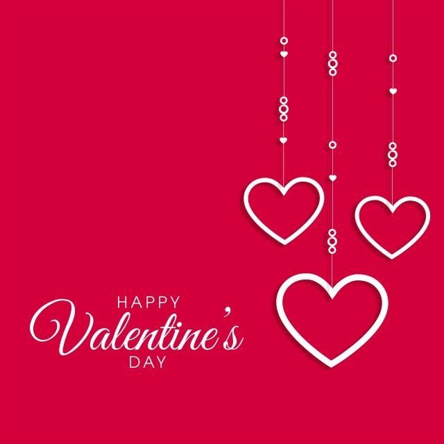 Valentine Day Card On Red Background Pink Heart Pink Love Design