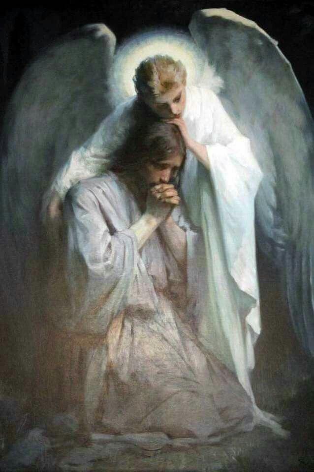 Jesus' guardian angel comforting Him as he prays