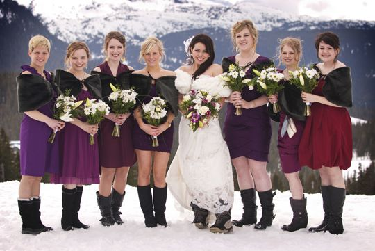 Snowy wedding in the mountains