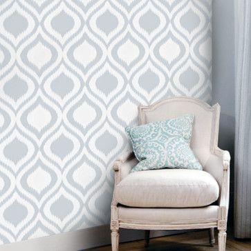 Peel-and-Stick Removable Wallpaper Modern Charcoal Trellis Grey Ikat