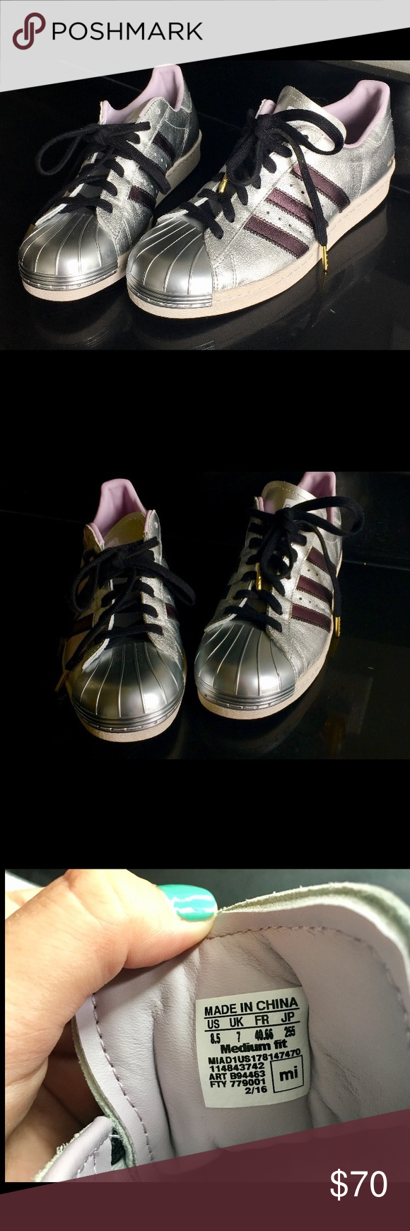 Superstar Adidas Metallic Silver zapatos 8 1 / 2 custom made online