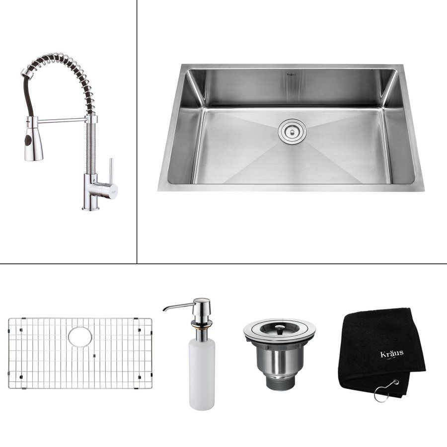 Kraus Kitchen Combo 19 In X 32 In Single Basin Stainless Steel Undermount Residential Kit Stainless Steel Kitchen Sink Undermount Single Bowl Kitchen Sink Sink