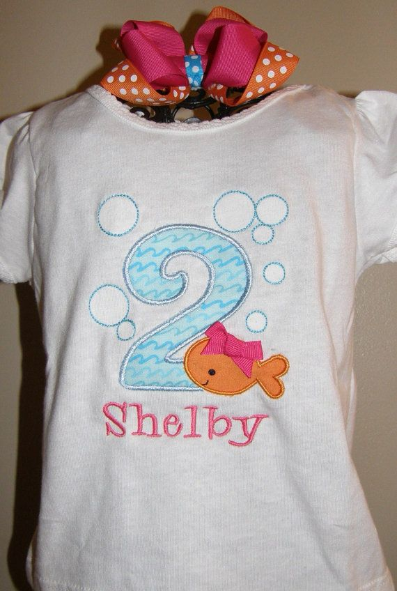 Little Fish Birthday shirt and hair bow by SweetBellaz on Etsy, $18.00