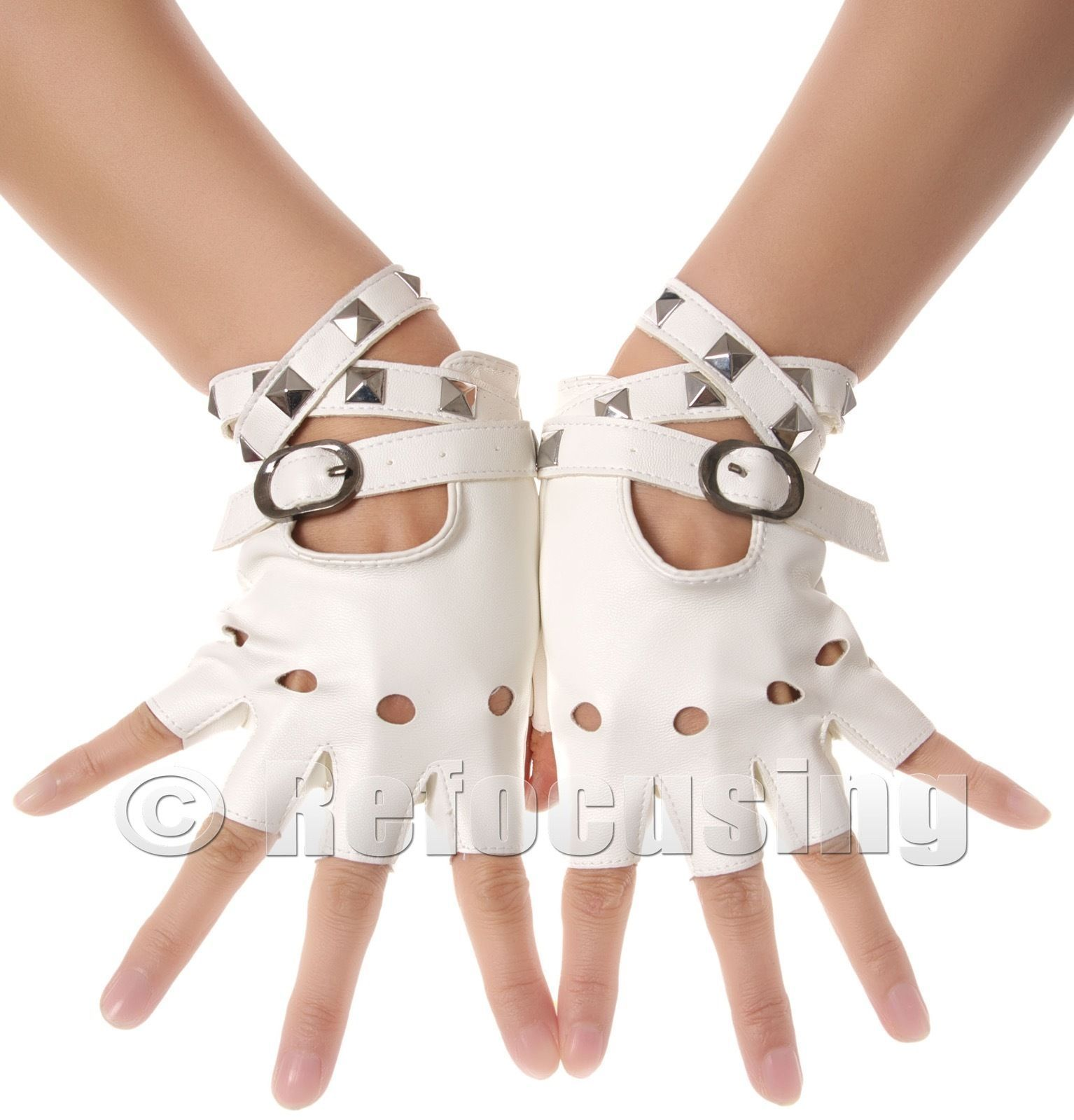 017610bf4 White stud faux leather fingerless gloves   Gloves   Gloves, Gloves ...