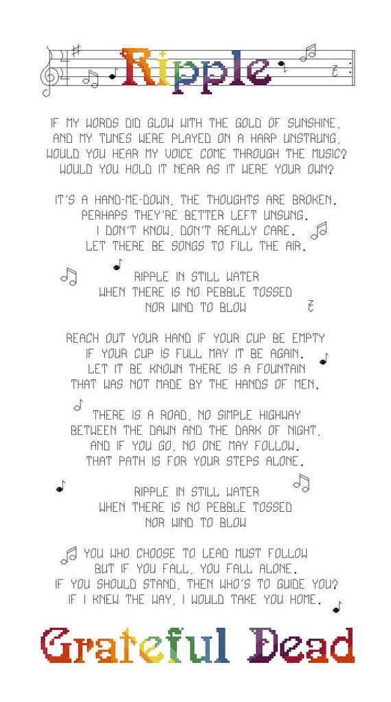 Lyrics Cross Stitch Pattern Grateful Dead Ripple Lyrics Counted ...