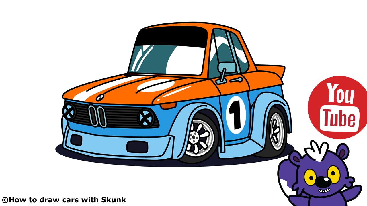 bmw 2002 racing car cartoon version by skunk art. Black Bedroom Furniture Sets. Home Design Ideas